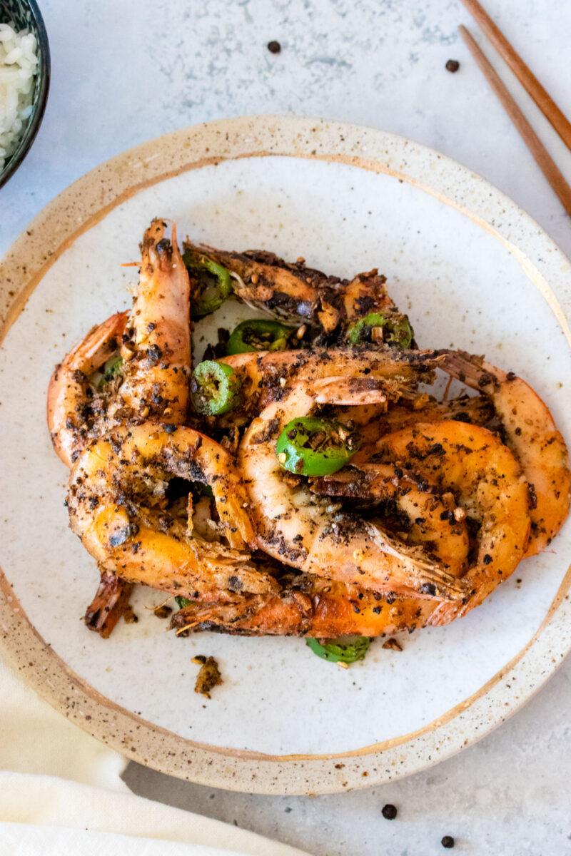 overhead shot of salt and pepper shrimp in plate