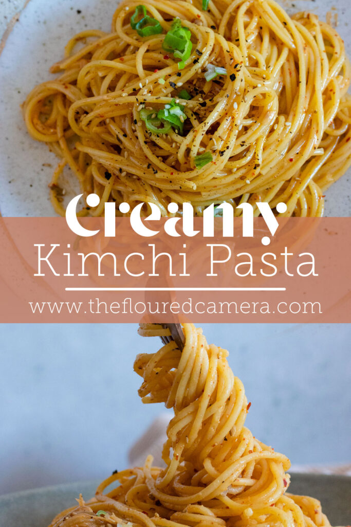 two images of creamy kimchi pasta