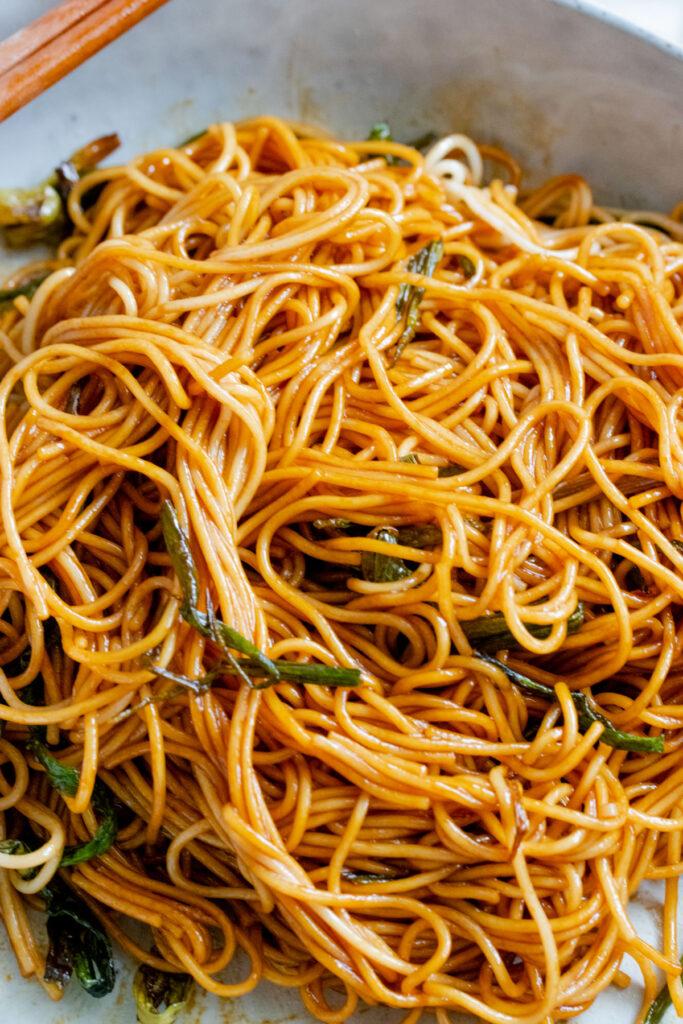 close-up scallion oil noodles