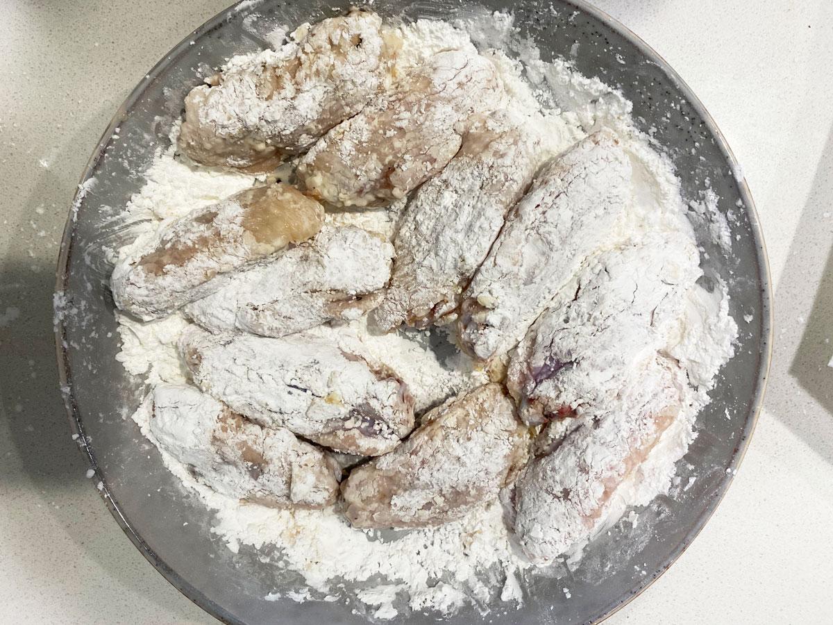 coat chicken in potato starch